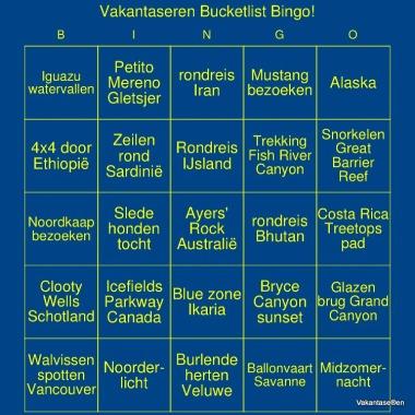 Vakantaseren, Bucket List, bingokaart